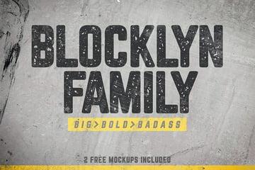 Blocklyn Font Family + Mockups