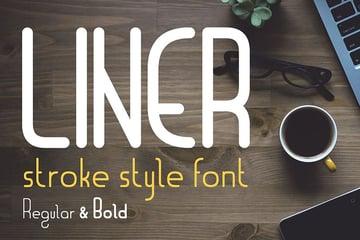 Liner  font for logos with frames