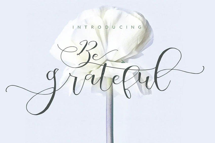 Be Grateful Script wedding Signature