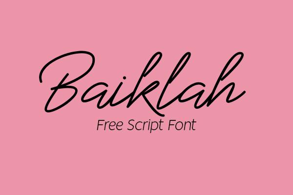 Baiklah Calligraphy Script Free Font