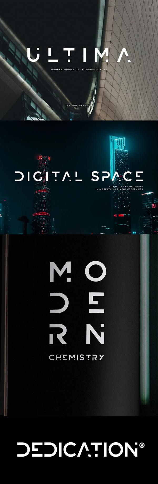 ULTIMA - modern futuristic font Free Font
