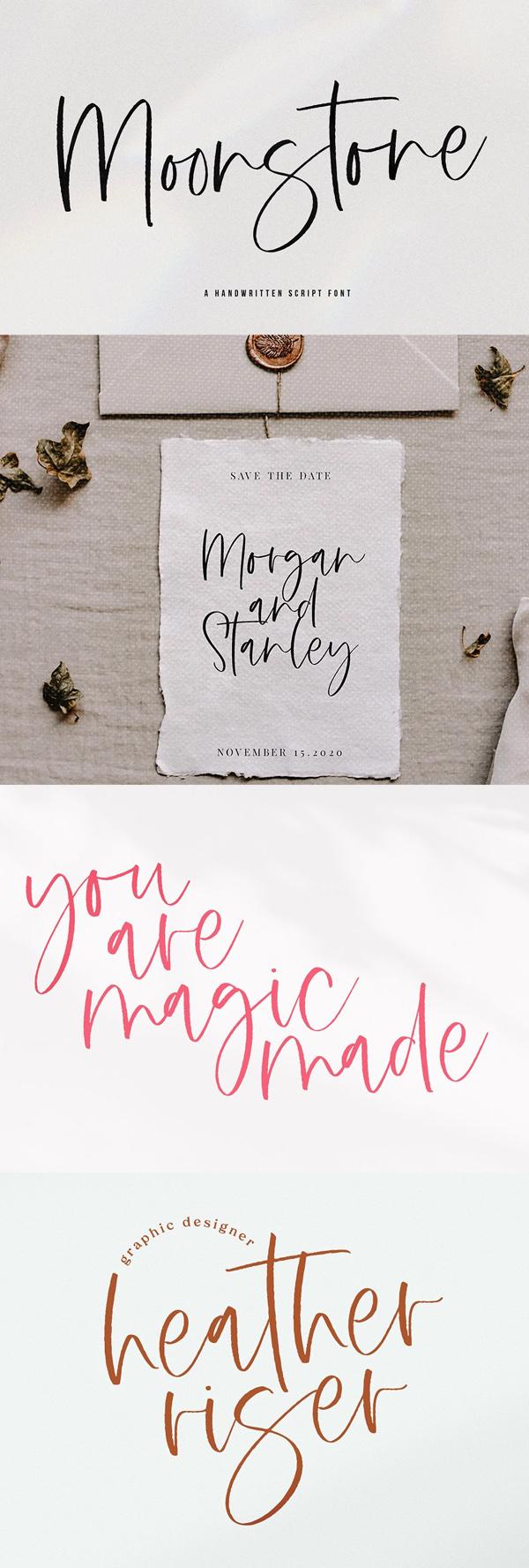 Moonstone - Handwritten Script Font Free Font