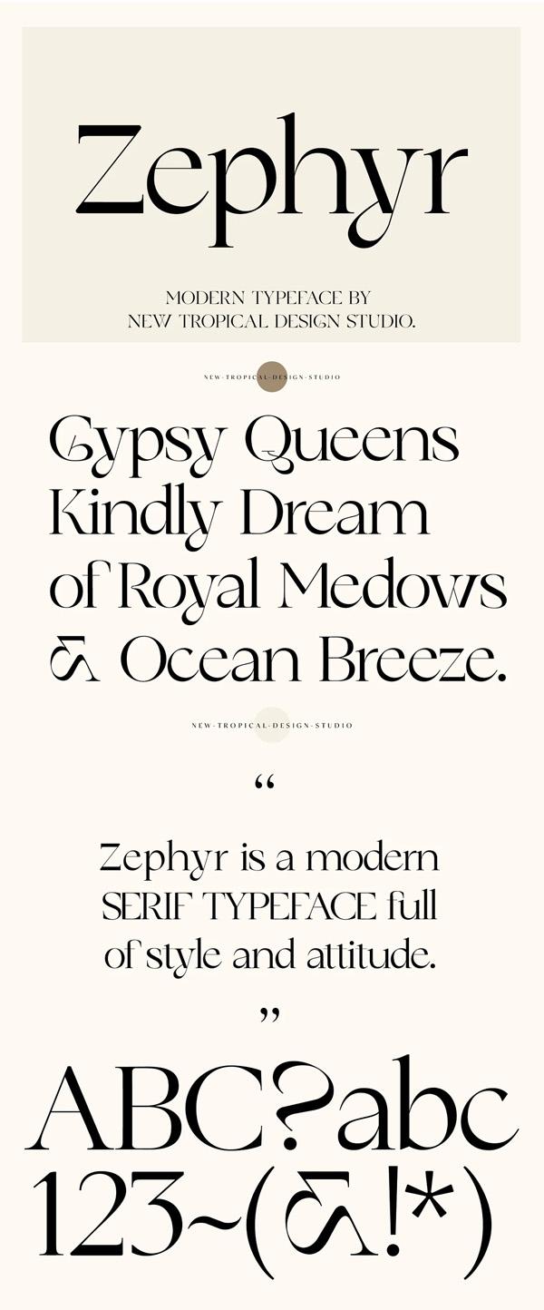 Zephyr - Modern Serif Font Free Font