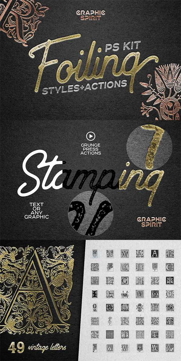 Foil Stamp Photoshop Actions