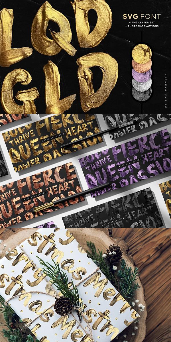 Liquid Gold Font and Actions