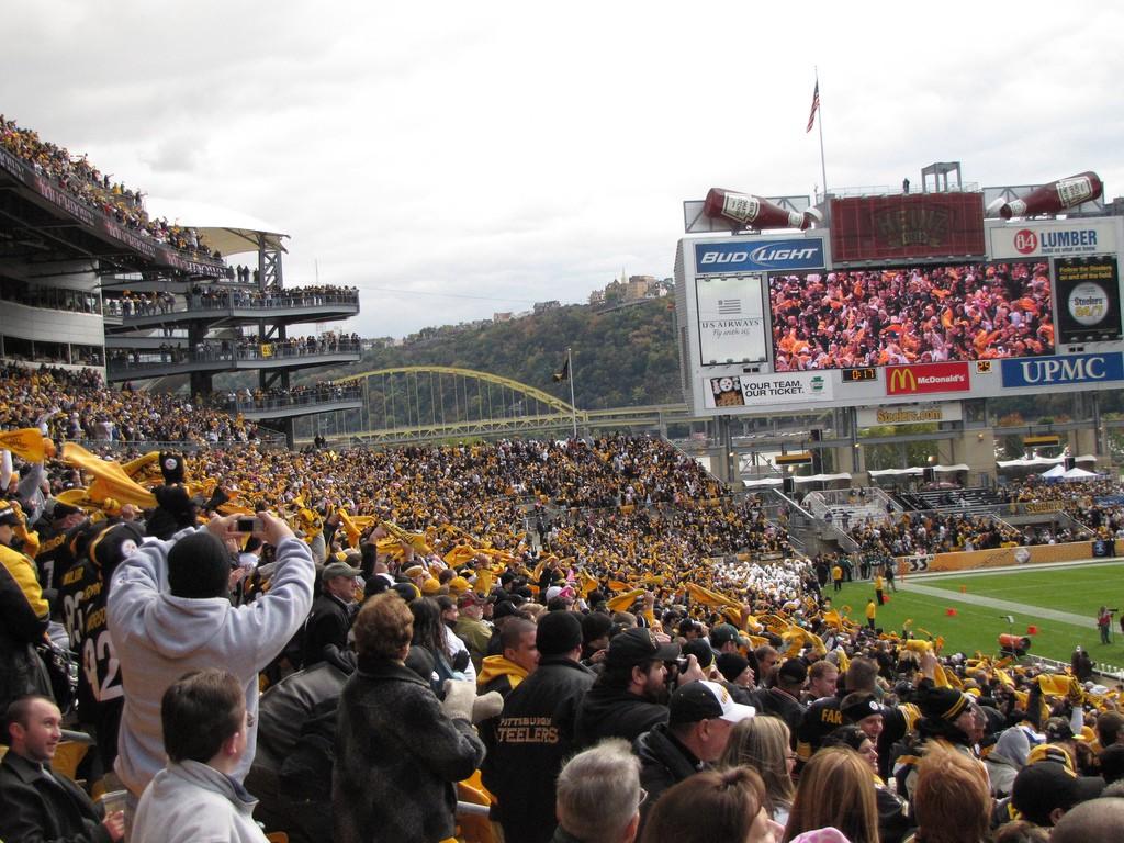Steeler fans at Heinz field celebrating a touchdown.