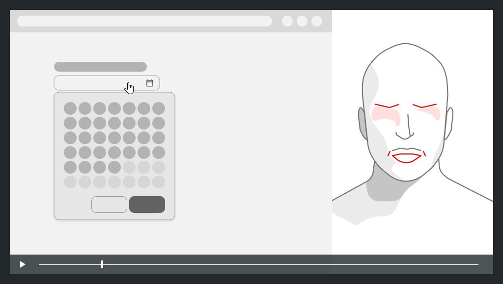 on the left a screen capture with interactive calendar, on the right the face of the user with expression of fear
