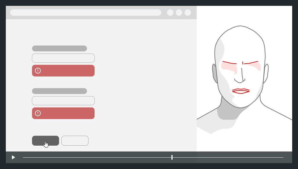 on the left a screen capture with errors, on the right the face of the user with expression of anger