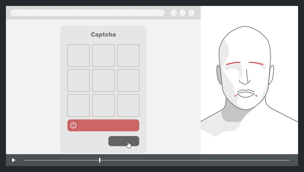 on the left a screen capture with an error on captcha, on the right the face of the user with expression of sadness