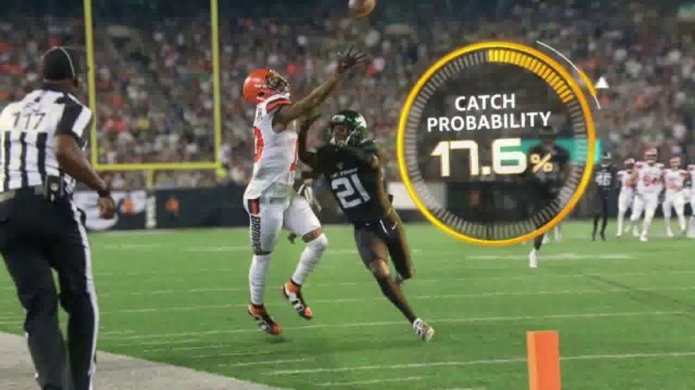 NFL player catching a football with a catch probability of 17.6%