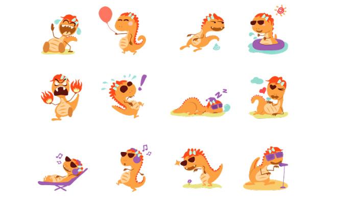 orange dinosaur emojo emoticons