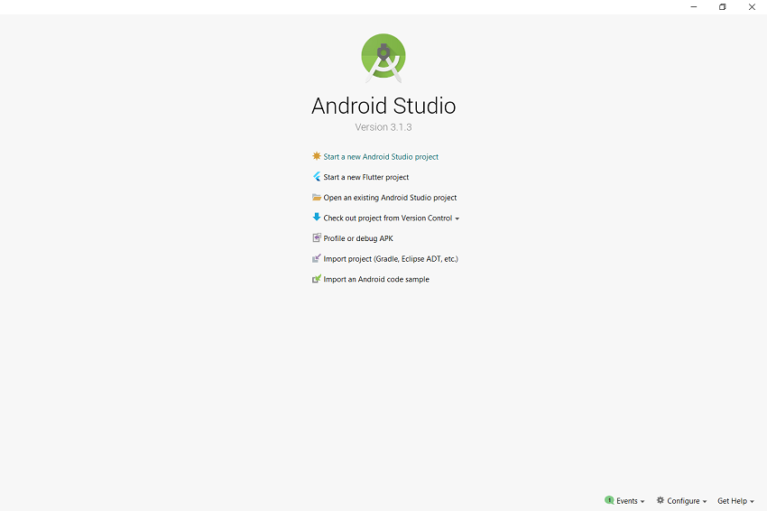 Welcome page of Android Studio