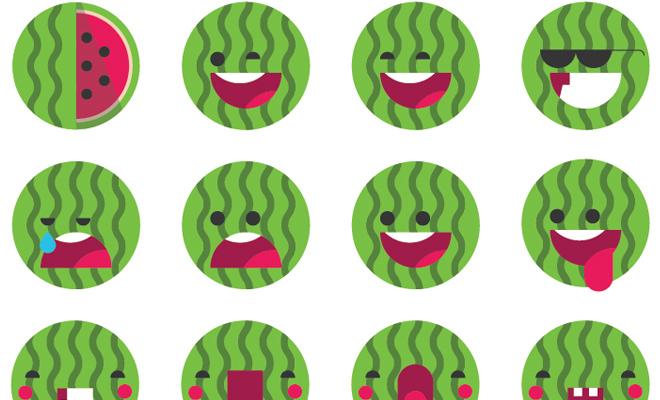 watermelon green emoji set