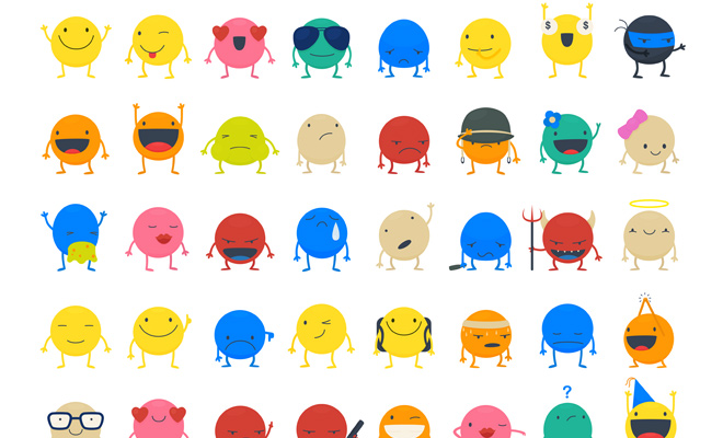 colorful circle smileys