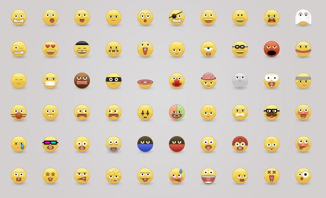 yellow glossy emoticons