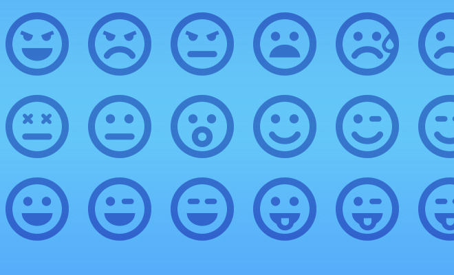thin line blue smiley icons