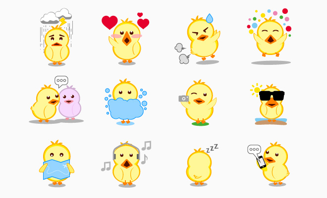 baby chicks chickens icons