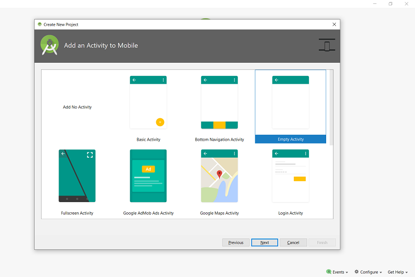 Create New Project in Android Studio