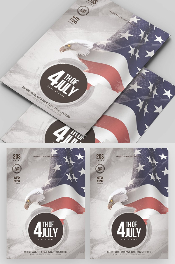 Elegant 4th of July Flyer Template