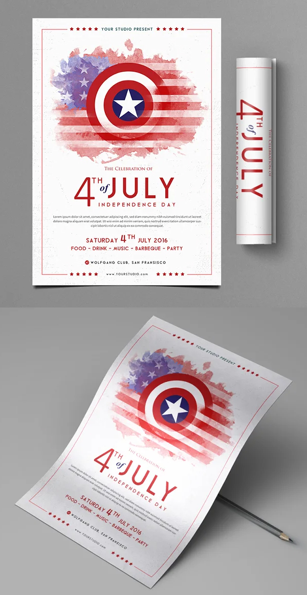 Simple Clean 4th of July Flyer