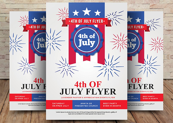 Stylish 4th Of July Flyer Template