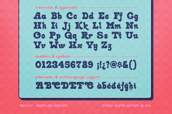 Buggy Retro Font Letters