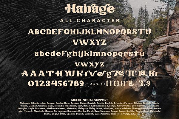 Hairage Font Letters