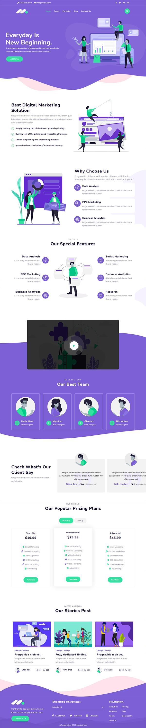 Markethon - Digital Marketing Agency Responsive HTML5 Template