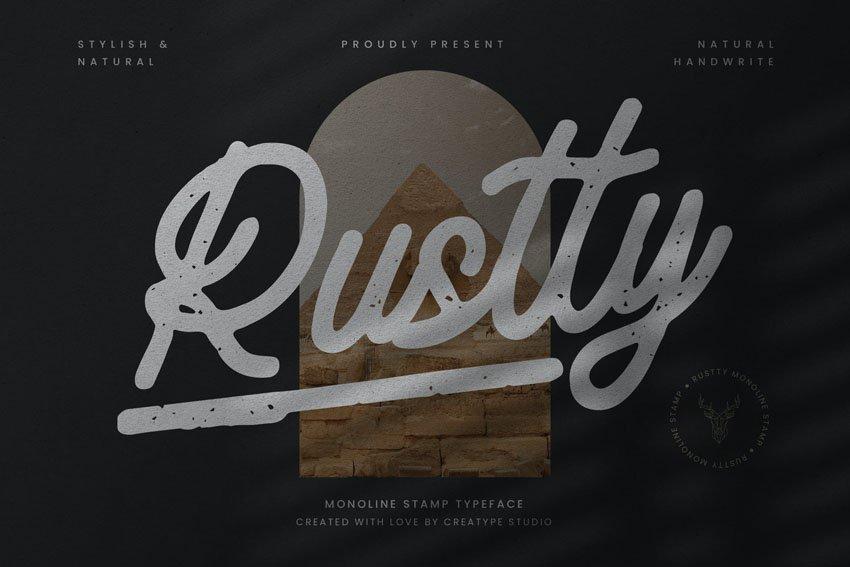 Rustty Monoline Stamp Typeface