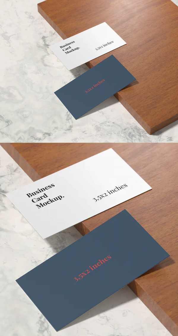 Business Card Mockup on The Mahogany Wood