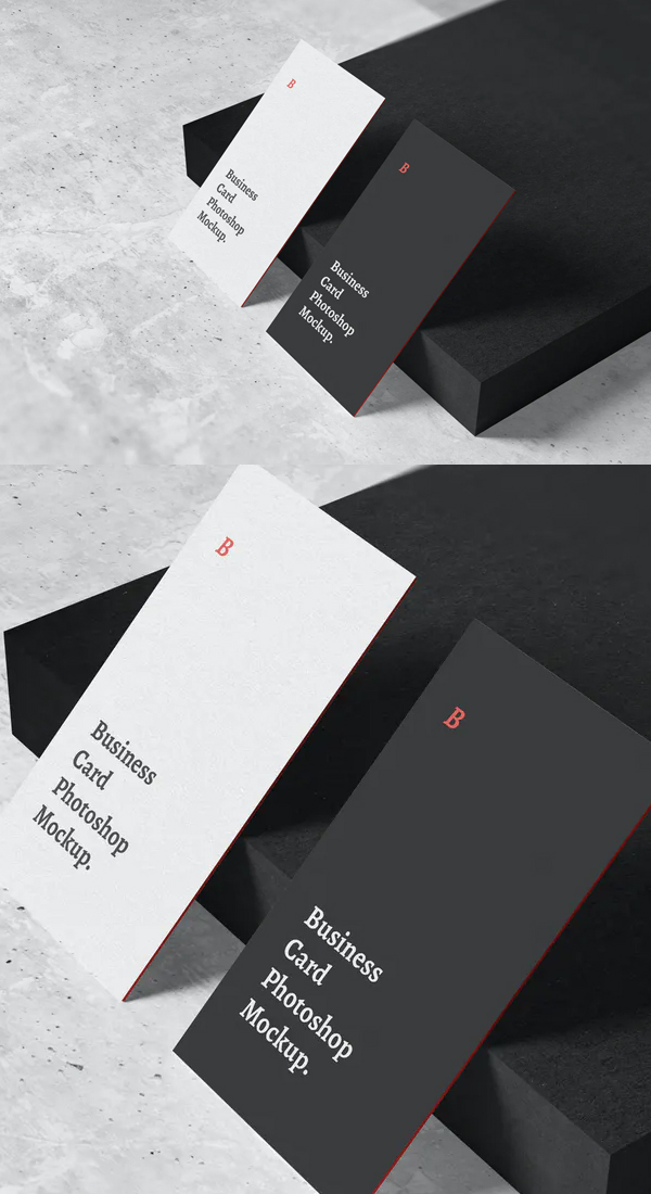 Black and White Business Card Mockup