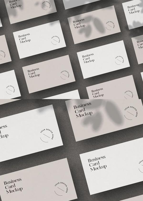 Grid Scene Business Cards Mockup