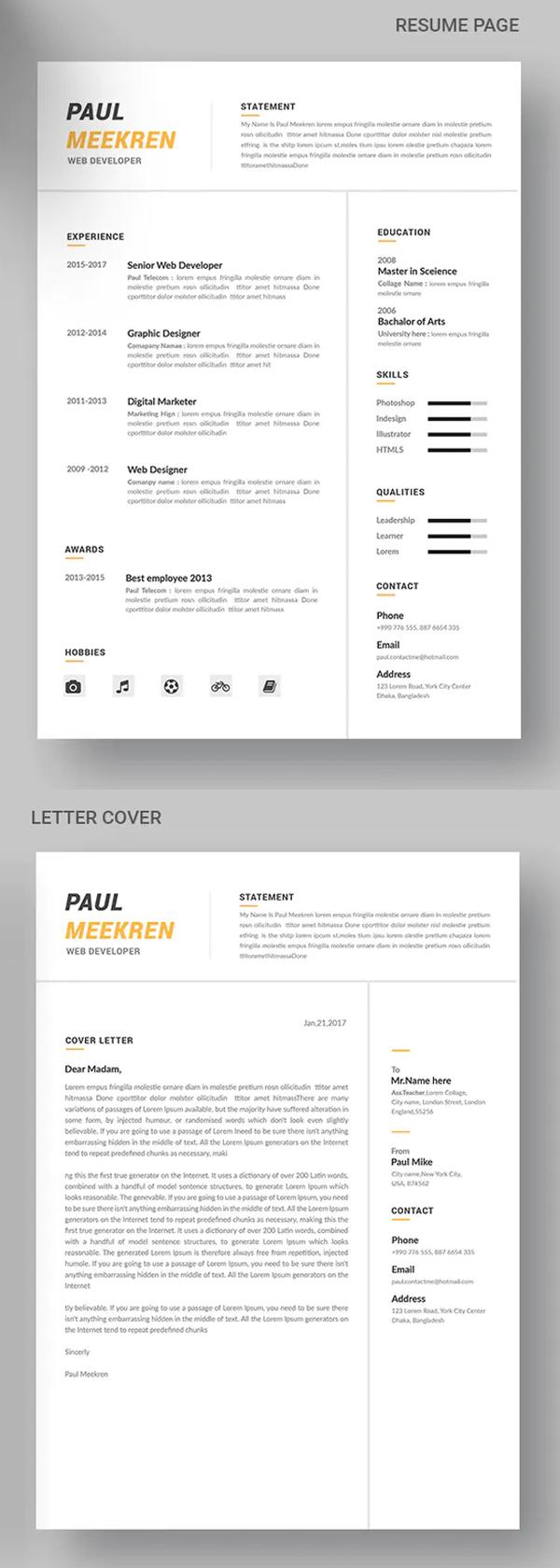 CV Resume & Cover Letter Font