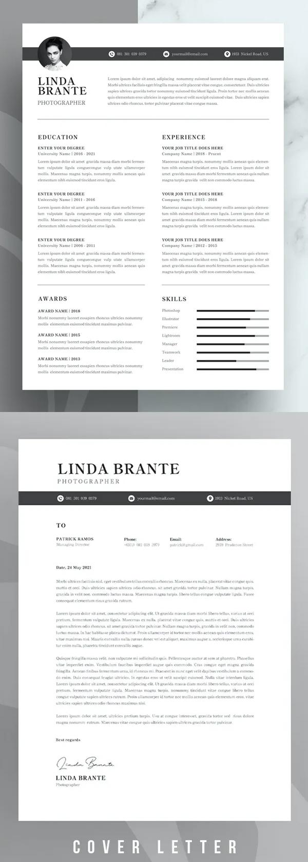 CV Resume Template Design Font