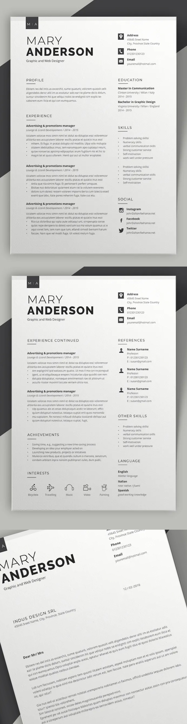 Resume 2 pages Resume + Cover Letter Font