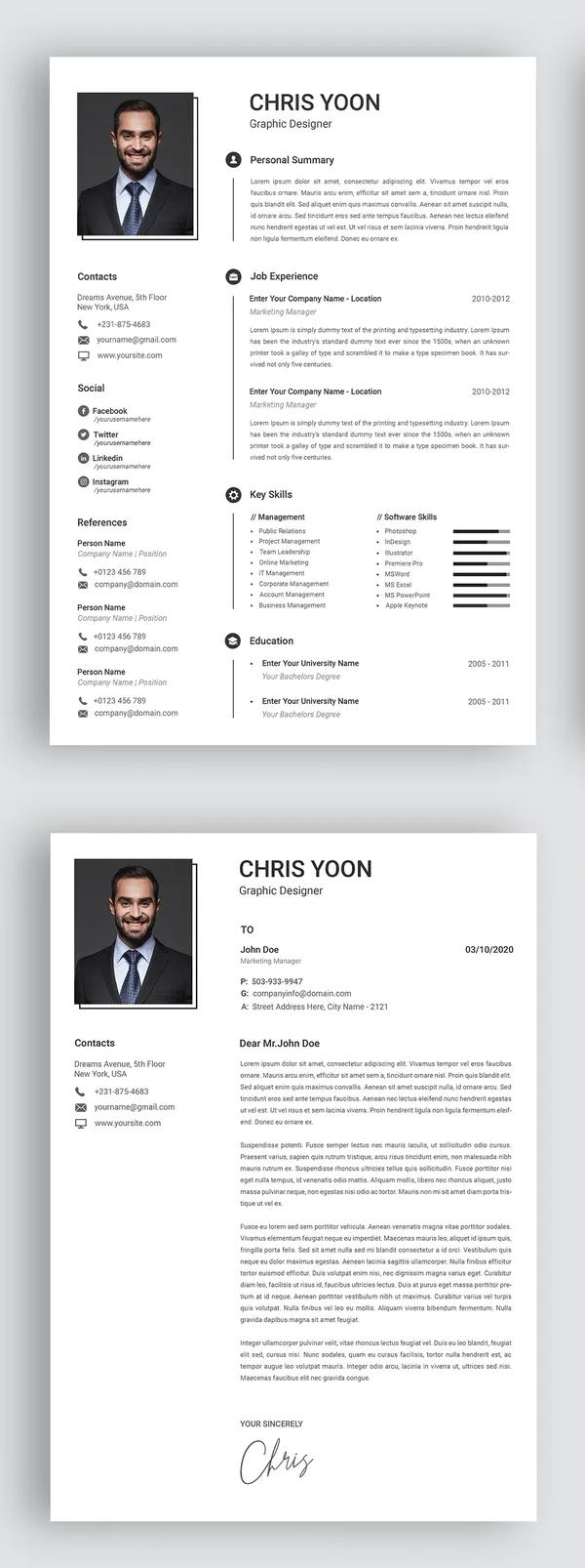 Resume & Letter Microsoft Word Office Font