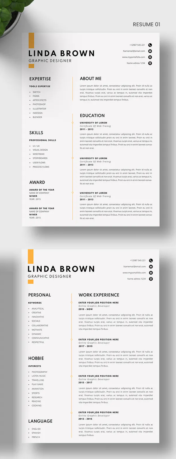 CV Resume & Cover Letter Design Font