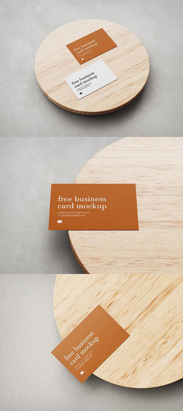 Free business card on wood mockup