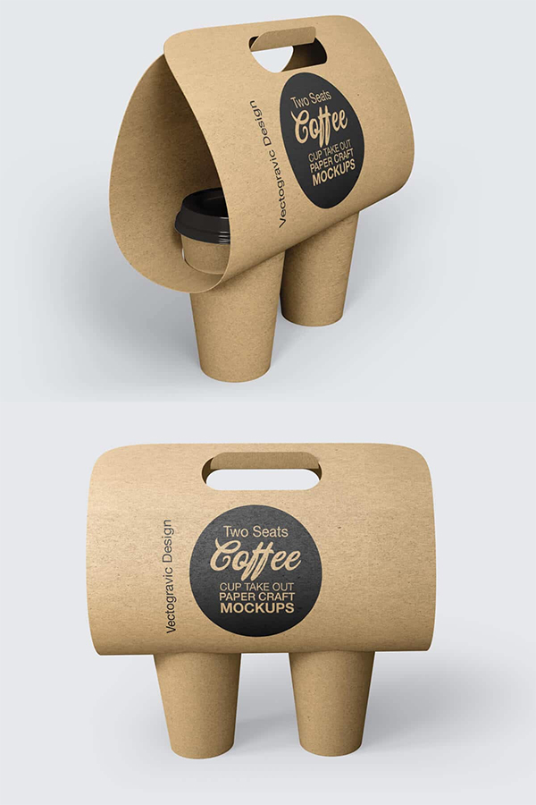 Two Seats Coffee Cup Take Out Paper Craft Mockups