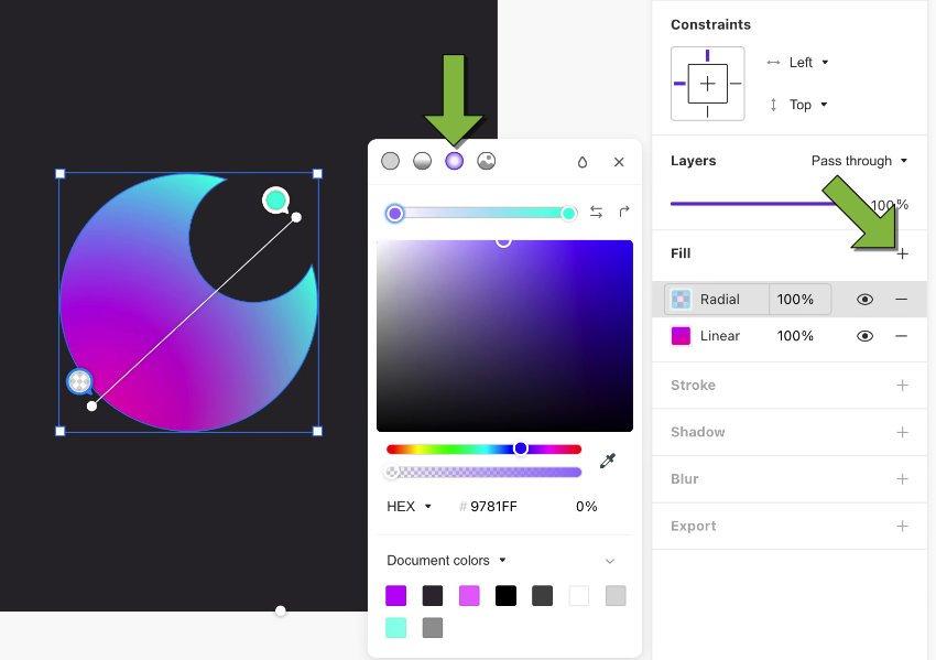 cyan to purple
