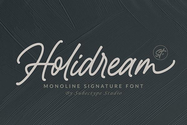 Holidream Monoline Signature Font
