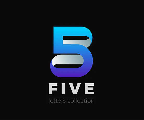 Number 5 Five design 3D Ribbon style