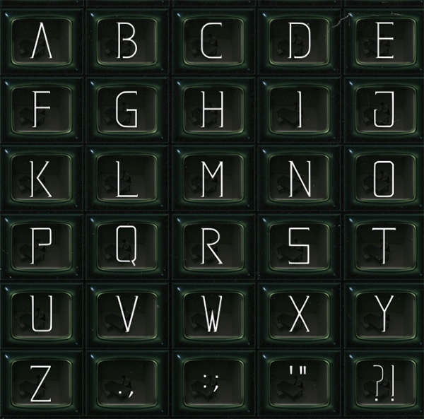 Matrix Font Letters and Numbers