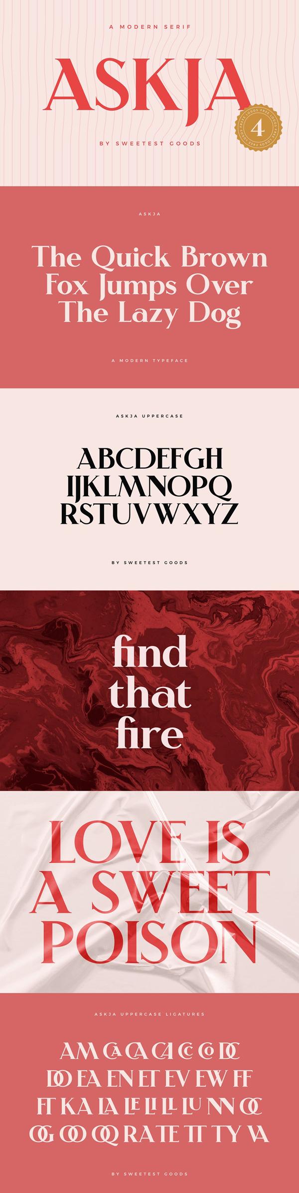 Askja - Modern Font + Free Logos