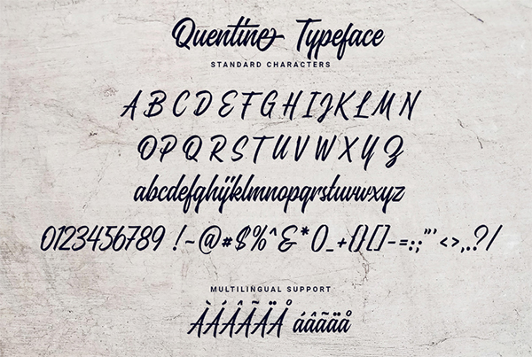 Quentine Font Letters and Numbers
