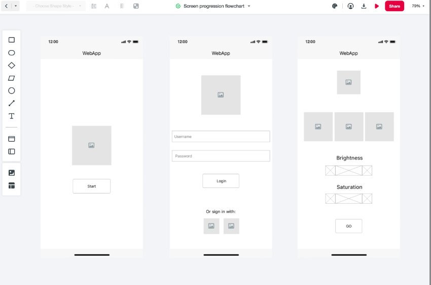 all wireframe screens
