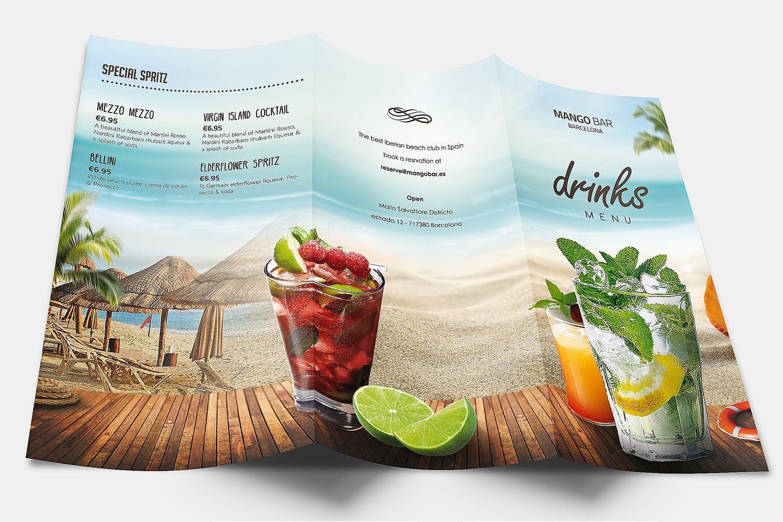 summer website themes drink menu