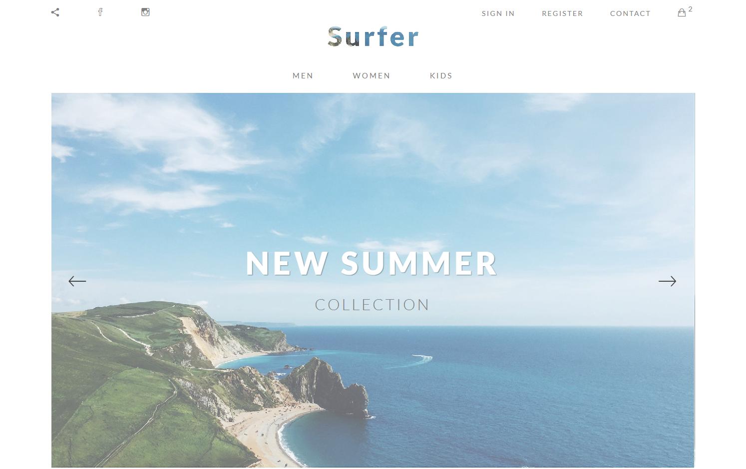 summer website templates surfer