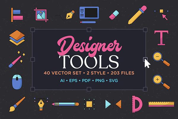 Designer Tools Vector Icon Set