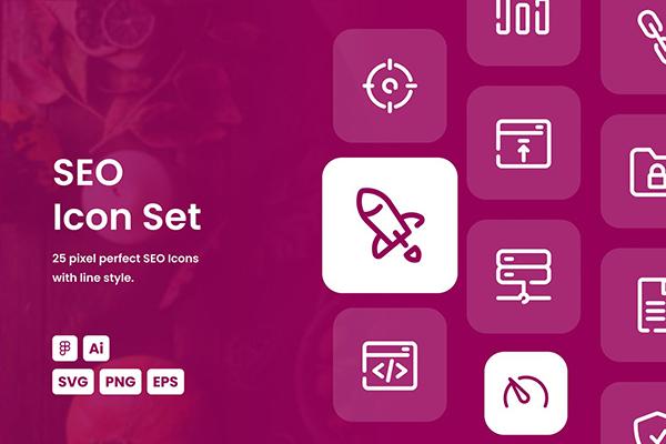 SEO Dashed Line Icon Set